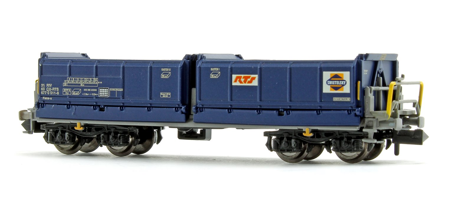 Set of 4 N Gauge Blue Tipper Wagons (RTS/Swietelsky SBB CFF)