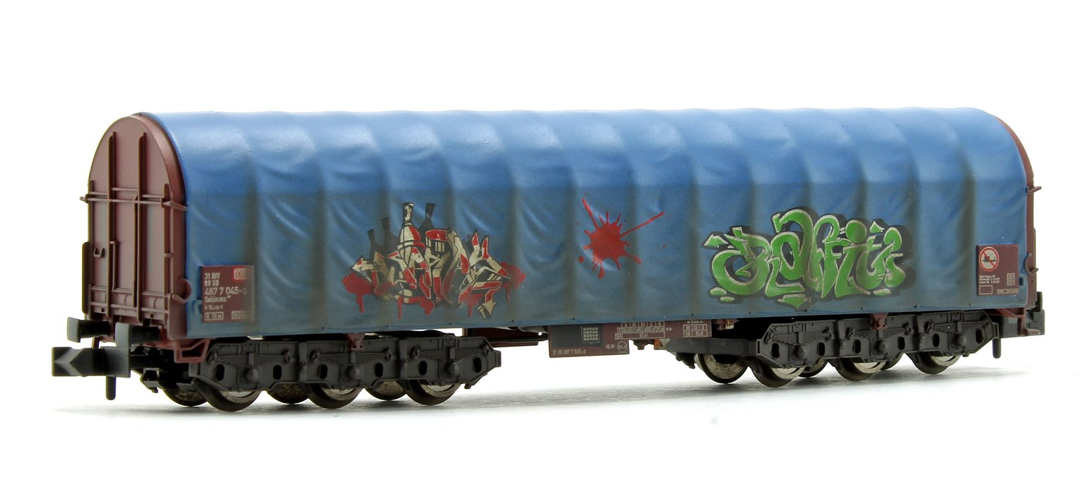 DB Steel Transport Wagon with Tarpaulin Hood and Graffiti