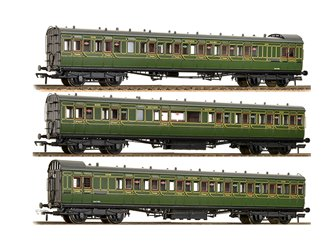 Set of 3 SE&CR Olive Green 60ft. Birdcage Coaches