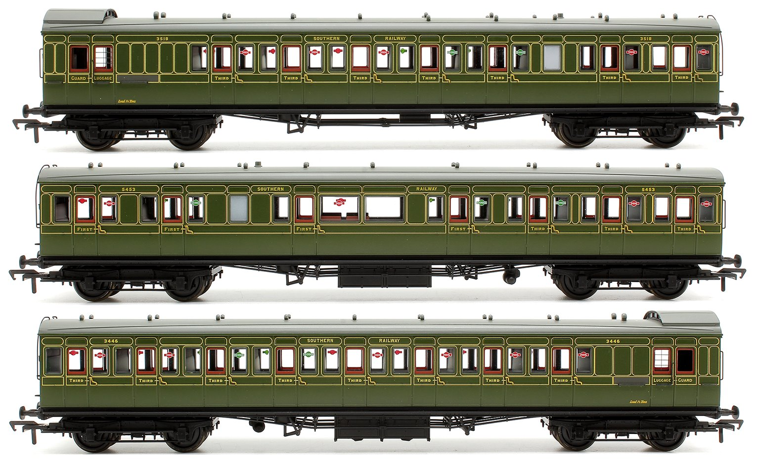 Set of 3 SR Olive Green SE&CR Birdcage Coaches