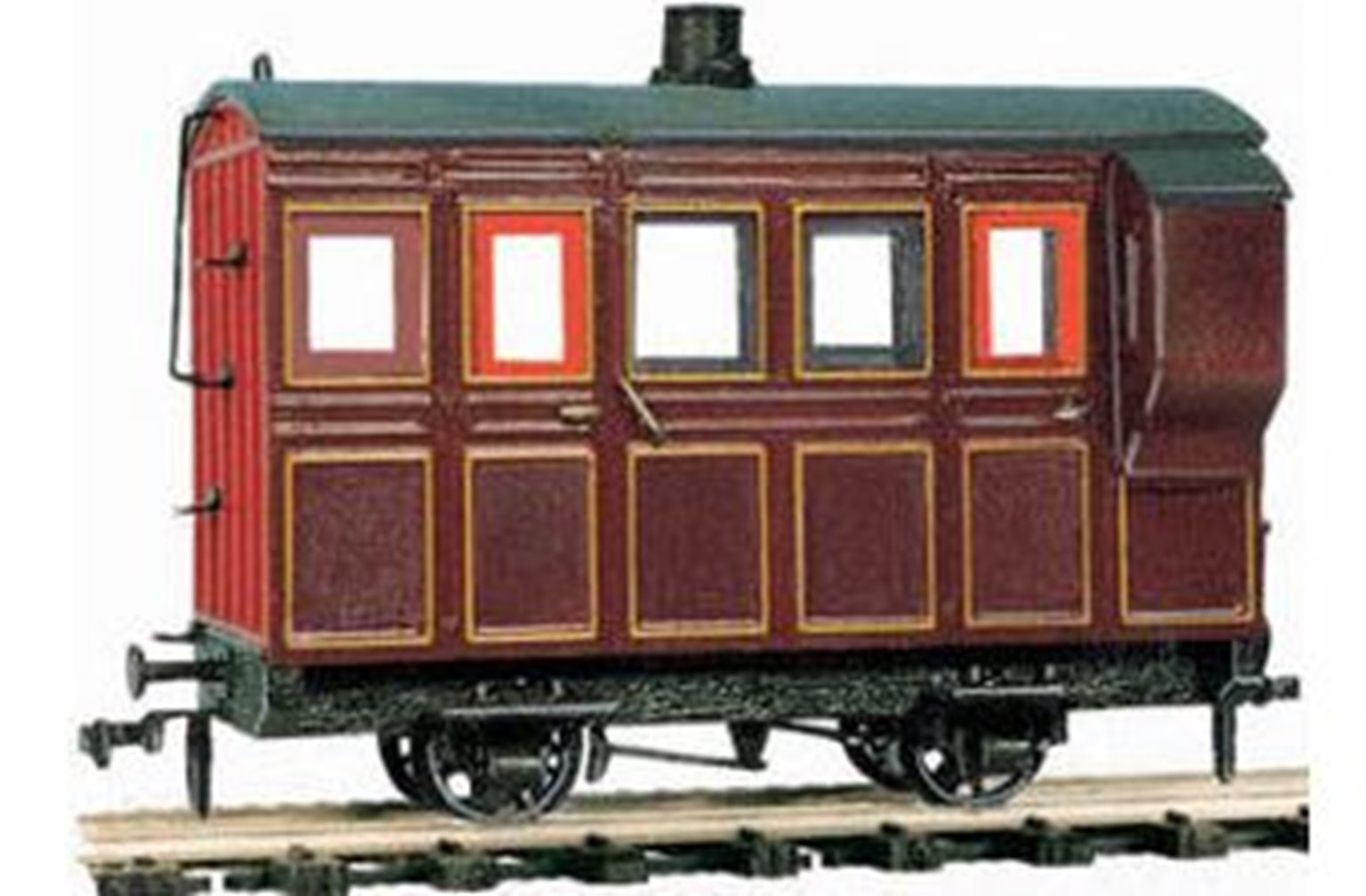 4 Wheel Coach/Brake, maroon livery