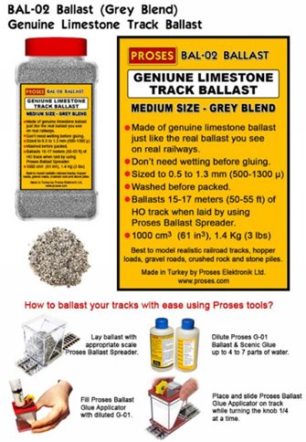 1.4 Kg (3 lbs) Authentic Limestone Ballast HO/OO (Grey Blend)