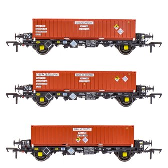 Set of 3 PFA 2 Axle Container Wagons with DRS LLNW Nuclear Half Height Container (Pack R)