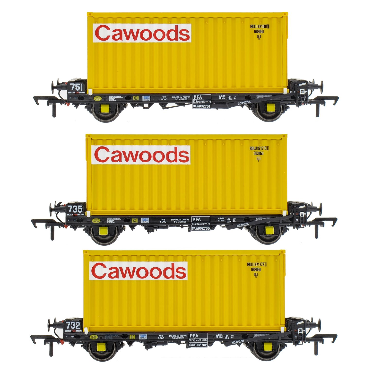 Set of 3 PFA 2 Axle Container Flat Wagons with Cawoods Coal Containers (Pack S)