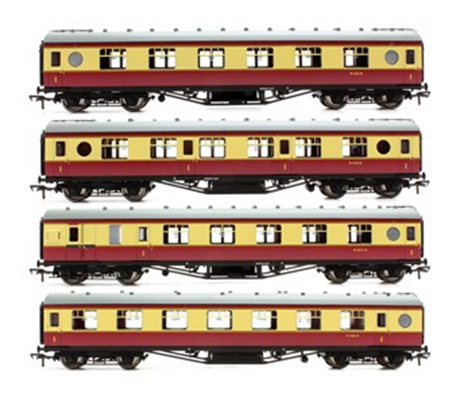 Set of 4 BR Crimson / Cream LMS Porthole Coaches