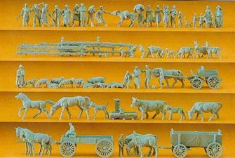 PEOPLE/ANIMALS/CARTS (60) UNPAINTED FIGURES