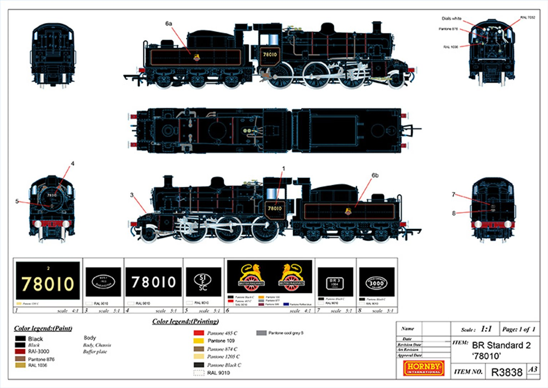 Standard 2MT BR Black (Early) 2-6-0 Steam Locomotive No.78010