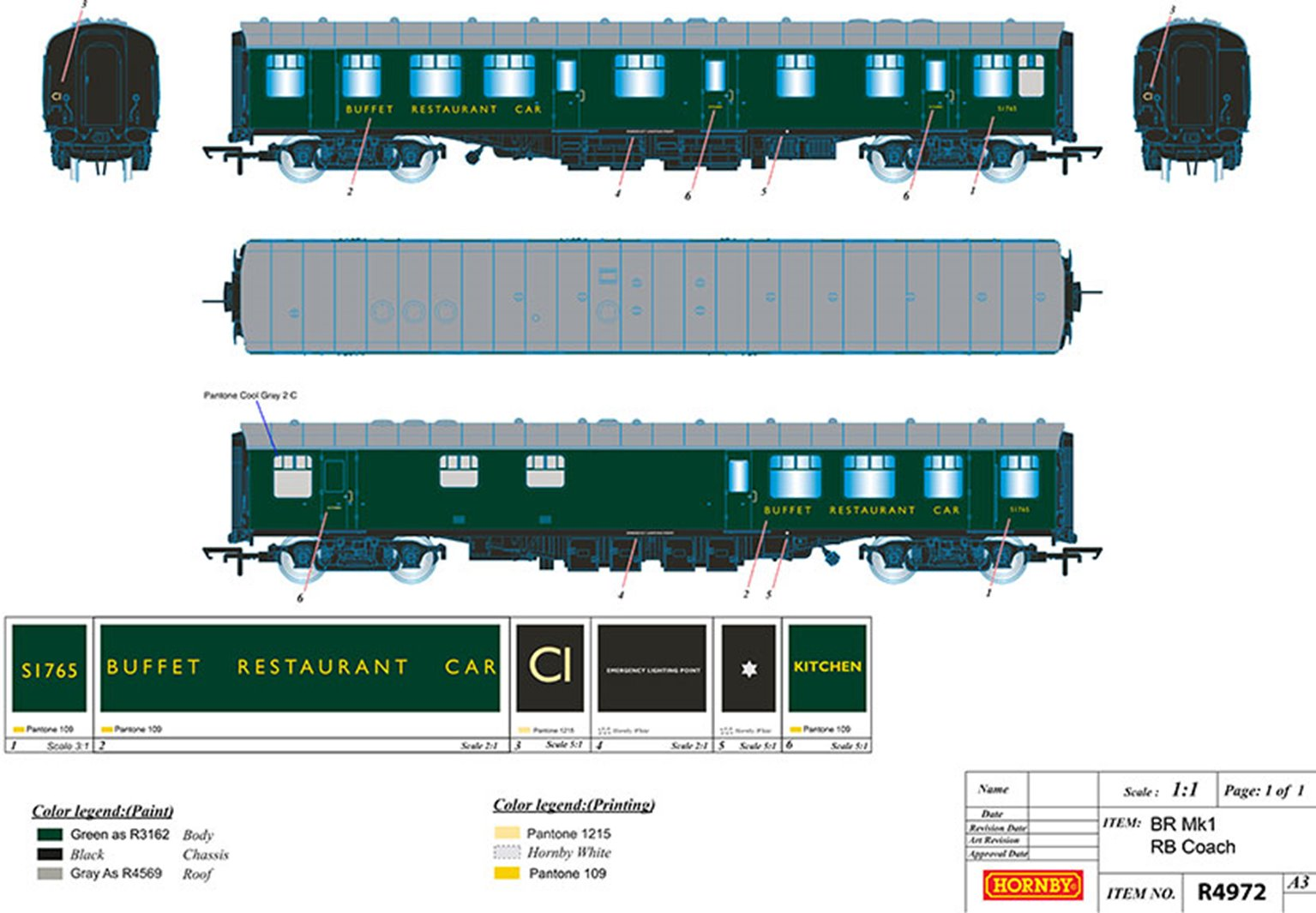 BR (S) Unlined Green MK1 RB Passenger Coach No.S1757