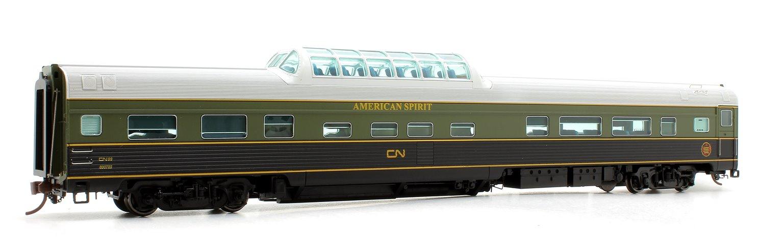 "Budd Mid-Train Dome Car - CNR Green ""American Spirit"" - Voiture Skyline"
