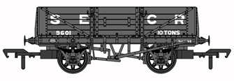 SECR 1347 5 Plank Open Wagon - SECR Grey #9601