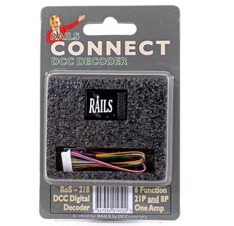 Rails Connect Decoder, 21 Pin Direct (8 Pin Harness) 6 Function Decoder