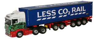 "Eddie Stobart Scania Highline with Combi Trailer and container ""Less CO2 Rail"""