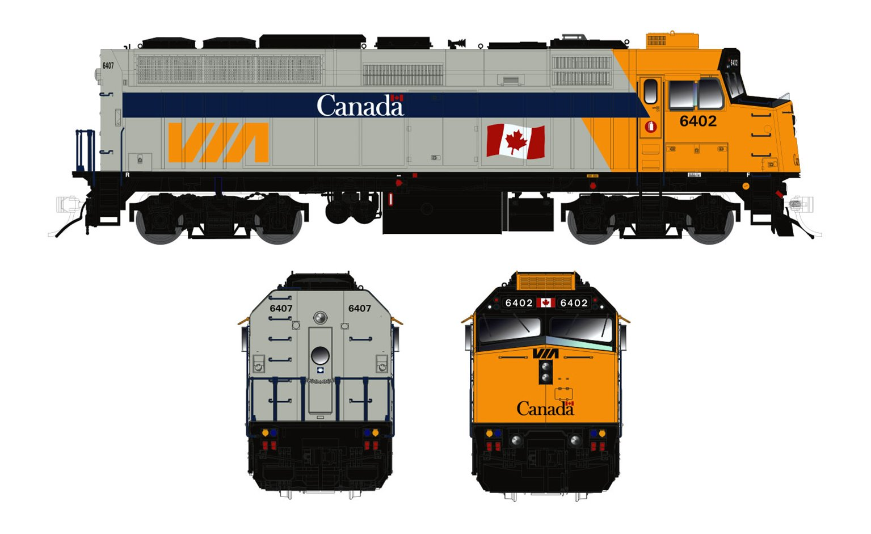 N Scale VIA Rail Canada F40PH-2D (DC/Silent): Canada Scheme #6402