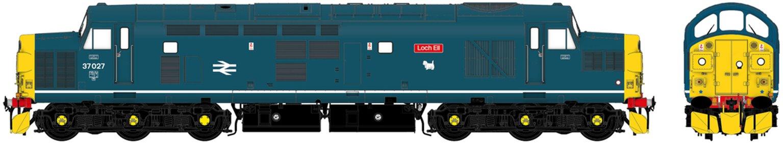 """Class 37/0 37027 """"Loch Eil"""" BR Blue Diesel Locomotive DCC Sound"""