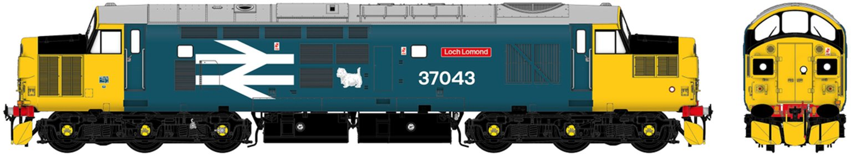 "Class 37/0 37043 ""Loch Lomond"" BR Large Logo Blue Diesel Locomotive DCC Sound"
