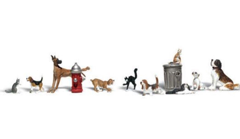 Woodland Scenics WA2140 N Gauge Figures - Dogs & Cats